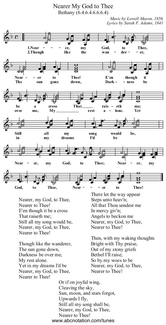 Lyric nearer my god to thee lyrics : abc | Nearer My God to Thee - trillian.mit.edu/~jc/music/abc/song ...
