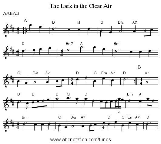 abc | The Lark in the Clear Air - abc sourceforge net/NMD/nmd/jigs